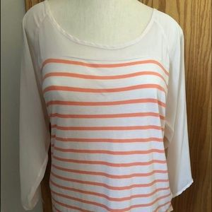 LAUREN CONRAD Large Peach striped 3/4 sleeve TOP